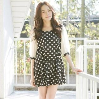 CatWorld - Elbow-Sleeve Patterned A-Line Dress