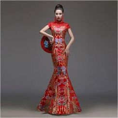 Posh Bride - Cap-Sleeve Mermaid Wedding Cheongsam