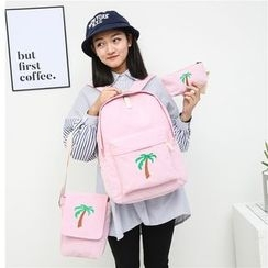 AIQER - Set of 3: Palm Tree Embroidered Corduroy Backpack + Crossbody Bag + Zip Pouch