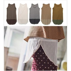 GOROKE - Semi-Sheer Hem Tank Top