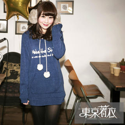 Tokyo Fashion - Pompom-Accent Printed Hooded Pullover