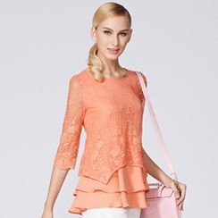O.SA - 3/4-Sleeve Lace Overlay Top