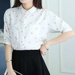 Isadora - Dotted Band Collar Elbow Sleeve Shirt