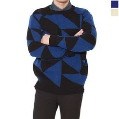 Seoul Homme - Crew-Neck Patterned Sweater