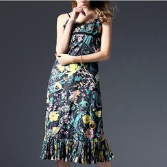 欧依潮派 - 打褶裥碎花沙滩裙