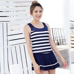 DAISI - Striped Swim Dress