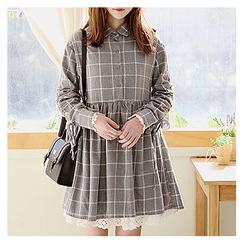Sechuna - Tie-Sleeve Plaid Empired Dress