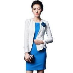 Aision - Single-Button Blazer / Sleeveless Dress