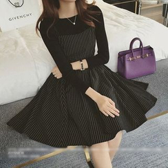 QZ Lady - Set: Long-Sleeve Top + Pinstriped Dress