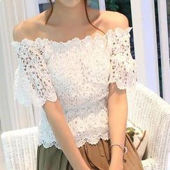 Amella - Off-Shoulder Elastic-Waist Lace Top