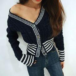 DABAGIRL - Contrast-Trim Wool Blend Cable-Knit Cardigan