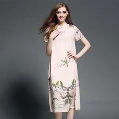 Ozipan - Short-Sleeve Printed Midi Dress