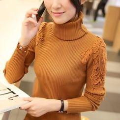 anzoveve - Lace Panel Long-Sleeve Knit Top