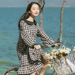 Sens Collection - Collared Plaid Long Sleeve Dress