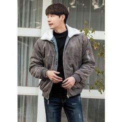 GERIO - Fleece-Collar Faux-Suede Jacket