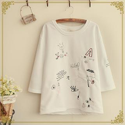 Fairyland - Embroidered Round-Neck T-Shirt