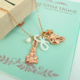 MyLittleThing - Rose Gold Rabbit and Mushroom Necklace