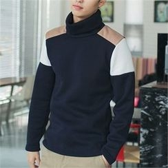 MITOSHOP - Turtle-Neck Color-Block Top