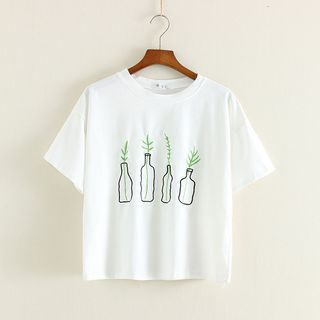 Mushi - Embroidered Short-Sleeve Crewneck T-Shirt