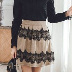 Tokyo Fashion - Lace-Panel Pleated A-Line Skirt