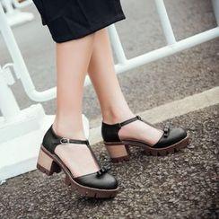 Pastel Pairs - T-Strap Block Heel Pumps