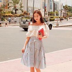 Cherryville - Pattern Striped Flare Skirt