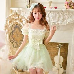 Candy Rain - Floral Lace Trim Chiffon Dress