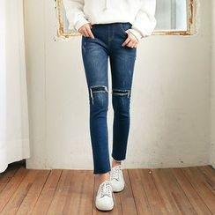 Seoul Fashion - Distressed Brushed-Fleece Lined Straight-Cut Jeans