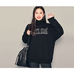HOTPING - Turtle-Neck Lettering Pullover
