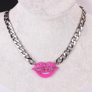 Supermary - Rhinestone Lip Chain Necklace