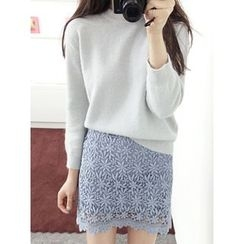 maybe-baby - Button-Back Wool Blend Knit Top