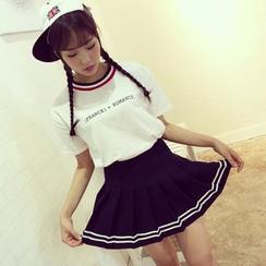 Dasim - Stripe Pleated Skirt