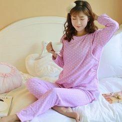 Cheer Mom - 套裝: 孕婦印花上衣 + 長褲