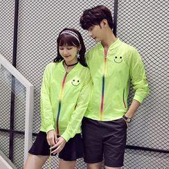 Evolu Fashion - Couple Matching Smiley Print Light Baseball Jacket
