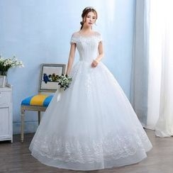 Caramelo - Maternity Mesh Trim Short Sleeve Wedding Ball Gown