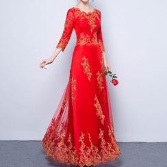 名貴風格 - 七分袖婚禮晚裝裙