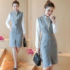 Ashlee - Set: Plain Blouse + Jumper Striped Dress