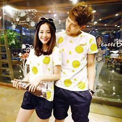 Azure - Couple Short Sleeves Dotted T-shirt