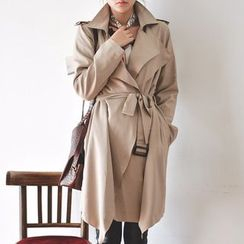 JUSTONE - Layered Lapel Trench Coat with Belt