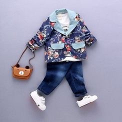 POMME - Kids Set: Lettering Long Sleeve T-Shirt + Floral Print Blazer + Jeans