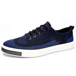 Van Camel - Knit Panel Sneakers