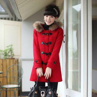 Faux-Fur Collar Toggle Hooded Coat