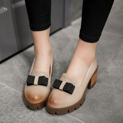 JY Shoes - Bow Accent Platform Loafer Pumps