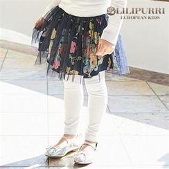 LILIPURRI - Girls Inset Rosette Tulle Skirt Leggings