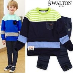 WALTON kids - Boys Set: Color-Block T-Shirt + Band-Waist Jeans