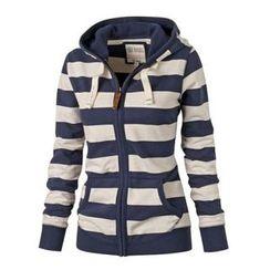 Fundae - Stripe Zip Hooded Jacket