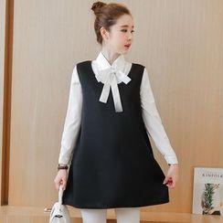 Carna - Maternity Set: Tie Neck Shirt + Plain Sleeveless Tunic