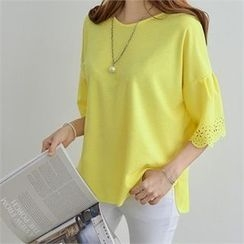 PEPER - Drop-Shoulder Perforated T-Shirt
