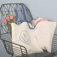 Ms Bean - Embroidered Smiley Canvas Shopper Bag