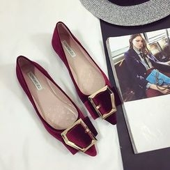 Chryse - Buckled Velvet Flats